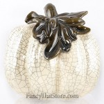 Cream Ceramic Pumpkin w Long Stem