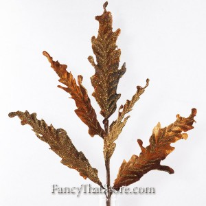 Glittered Acanthus Leaf Stem