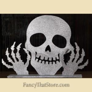 Silver Glittered 3D Skull   Small