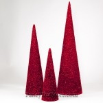 Red Cone Trees Set of 3