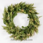 Mixed Pine and Cedar Wreath with Lights