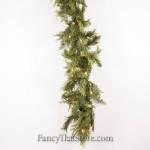 Mixed Pine and Cedar Garland with Lights - 9 Feet Long