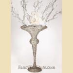 Platinum Glittered Trumpet Vase