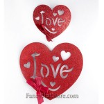 Glittered Love Hearts - Set of 2
