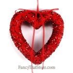Glittered Red Heart Ornament 6 Inches