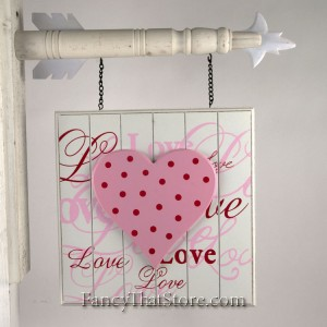 White Love Bead Board with Pink Heart Plaque Arrow Collection