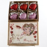 Glittered Heart Ornaments in Box - Set of 6