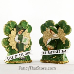 Lad and Lass Four Leaf Clovers by Tina Haller Set of 2