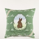 Embroidered Bunny Pillow Green