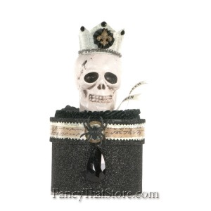 Skull with Crown on Black Round Box by Heather Myers