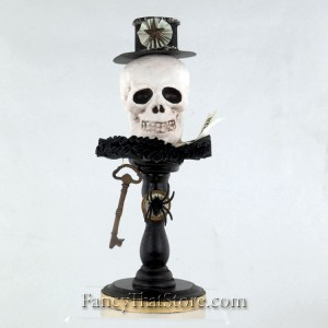 Skull with Black Hat on Pedestal by Heather Myers