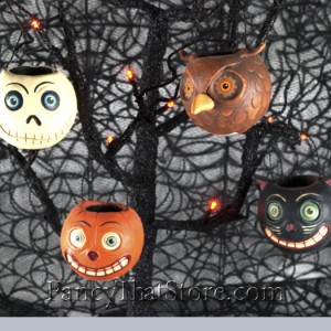 Halloween Bucket Ornaments by David Everett Set of 4
