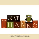 Give Thanks Wood Block Set with Owl