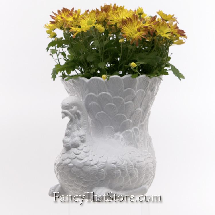 White ceramic turkey vase — fancy that store