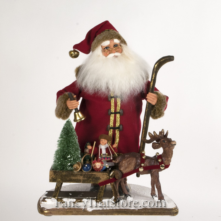 Vintage santa with sled by karen didion