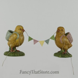 Chicks Holding Pennant Garland from Bethany Lowe Designs