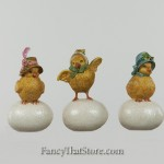 Chicks with Bonnets on Egg from Bethany Lowe Designs