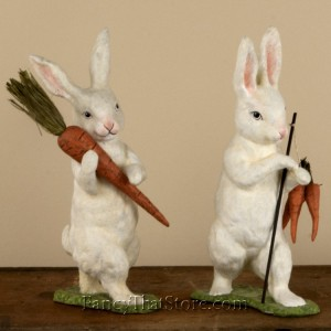Flocked Bunnies with Carrots Set of 2 from Bethany Lowe