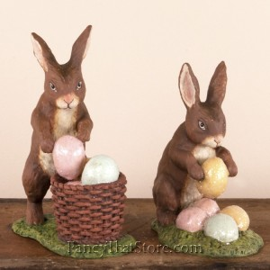 Rabbit with Easter Eggs Set of 2 from Bethany Lowe