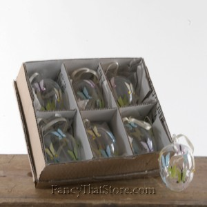 Glass Egg Ornament with Butterfly Set of 6