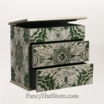 Two Drawer Artisan Jewelry Box from Peru Green Rect