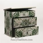 Two Drawer Artisan Jewelry Box from Peru Green Rect